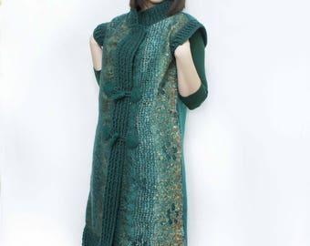 "vest ""Malachite Box"". eco,naturally,woolen,felt.fashion,Beautiful,Clothing,Vest,Vest felt,Knitting.Gift,Handmade,Green,Color,Author's design"
