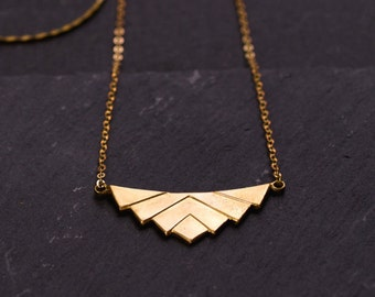 Raw brass Lotus necklace