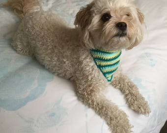 Striped Crochet Dog Bandana