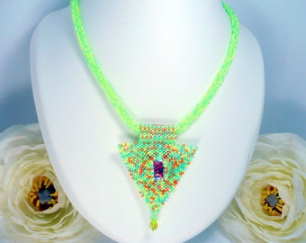Necklace multicolor weaving Miyuki seed bead peyote woven by hand