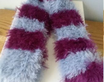 Purple and gray fuzzy scarf for women