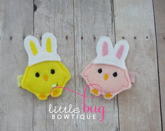 Bunny Hair Clips, Baby Chick Hair Clips, Easter Hair Clips, Pink Hair Clips, Yellow Hair Clips, Spring Hair Clips, Girls, Babies, Toddlers