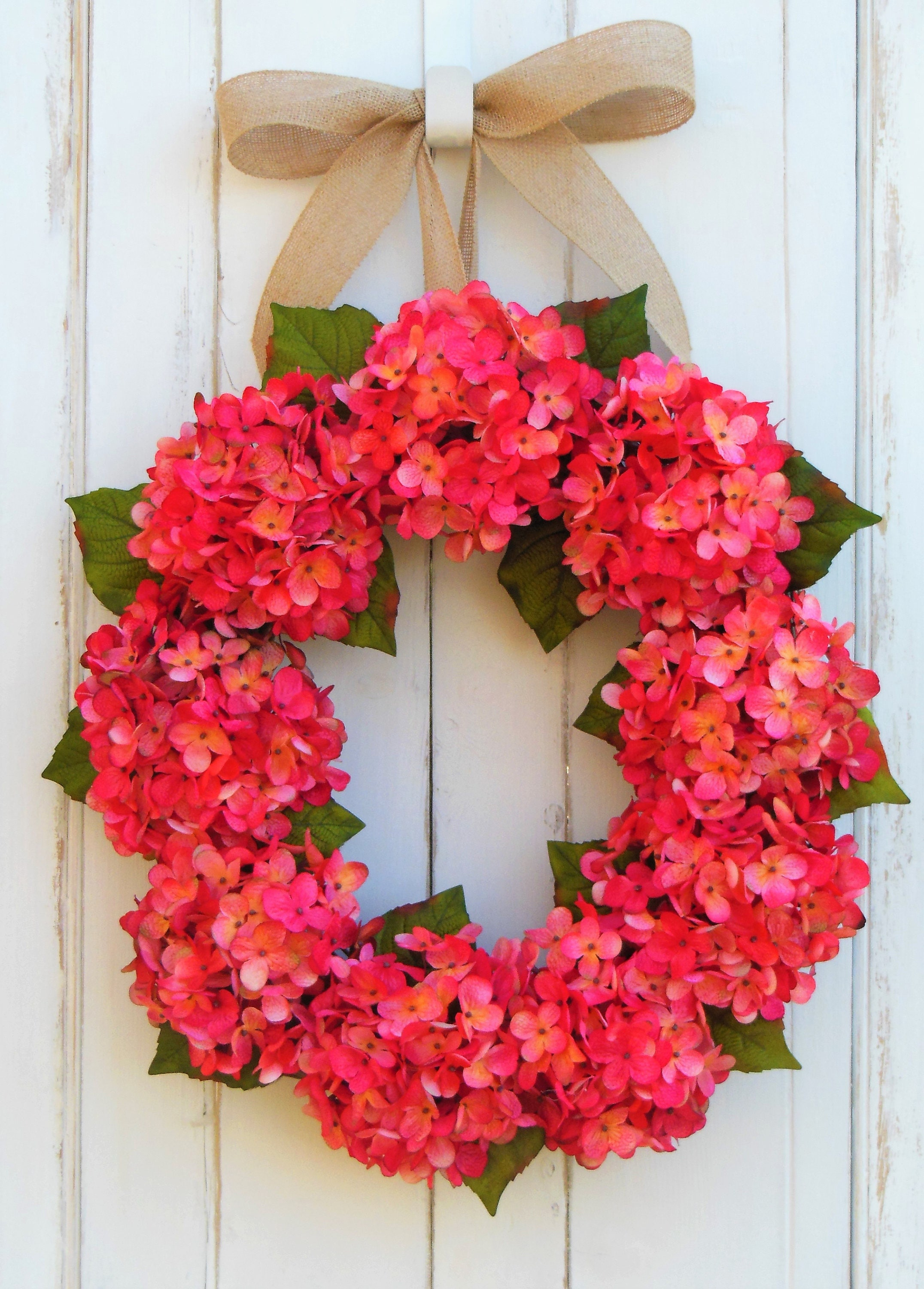 Hydrangea Door Wreath, Front Door Wreath, Summer Wreath, Spring Wreath,  Everyday Wreath, Wreaths Hydrangea, Bright Pink Hydrangea, Pink