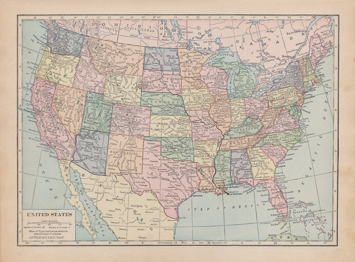 Vintage Map Of The United States Of America Fabric Fat - Us Map 1908