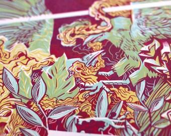 DEVOTIONS I • Letterpress Linocut Print •Handmade