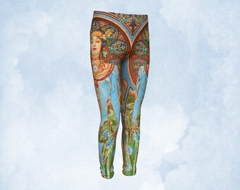 Youth leggings, girls leggings, kids pants, Art Nouveau, Colorful leggings, fun clothing, kid clothing, unique clothing, fun clothing, gift