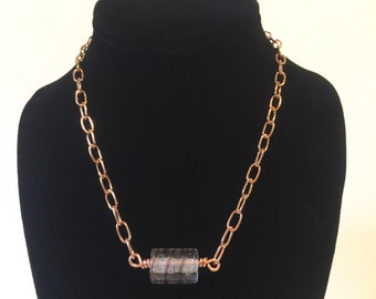 17 Inch Copper Vintage Glass Bead Necklace - Reiki Infused