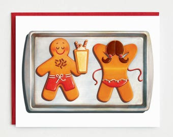 Funny Christmas Card - Sunbathing Gingerbread Holiday Card
