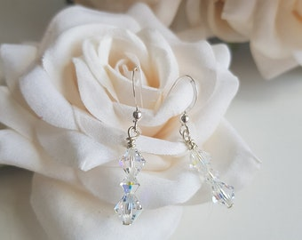 Tralee silver and crystal drop earrings