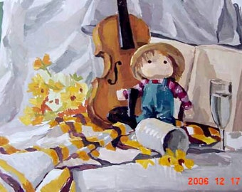 Still life doll violin on request