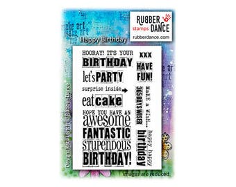 Birthday Stamp, Happy Birthday, Rubber Dance Stamps, Rubber Stamp, Word Stamp