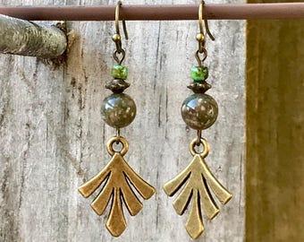 Autumn Jasper Earrings, Bronze Earrings, Green Earrings, Boho Earrings, Rustic Earrings, Ethnic Earrings, Leaf Earrings, Nature Earrings