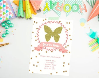 Butterfly Invitation. Pink Gold Baby Shower Invitation. Baby Shower Invitation. Gold glitter. Shower Invitation. GIRL. Birthday Invitation.
