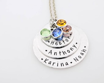 Personalized Hand stamped mothers or grandmother stack with birthstones  custom with names  gift for mom grandma grandmother nanny