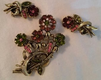 SALE!! Gorgeous Pink/Green Rhinestone Vintage Brooch and Clip Earring Set