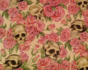 Resting in Roses Tea by Alexander Henry Fabrics rockabilly fabric by the yard