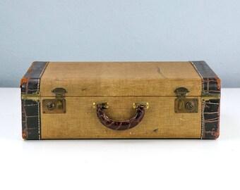 Vintage Tweed Suitcase with Leather Trim and Handle, Original Key