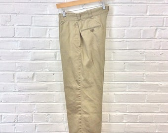 Vintage US Army Cotton High Waisted Khakis Chinos Trousers. Size 31x24