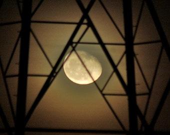 Industrial Moon Photo, Pylon photograph, Moon Picture, Industrial Landscape, Night Sky, Black. Amber. Burnt orange. chocolate brown