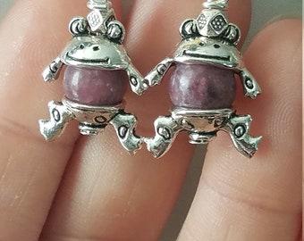 Lepidolite Frog Earrings