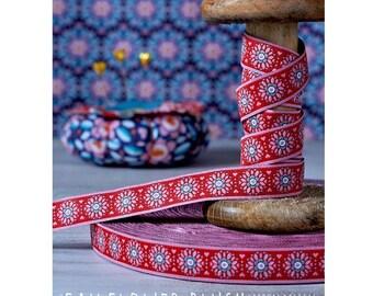 "Jacquard Ribbon Trim ""Fall Flower Blush""  from jolijou 1 meter"