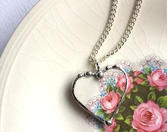 Broken china jewelry - heart pendant - lacy roses -  broken china jewelry heart pendant necklace - recycled china