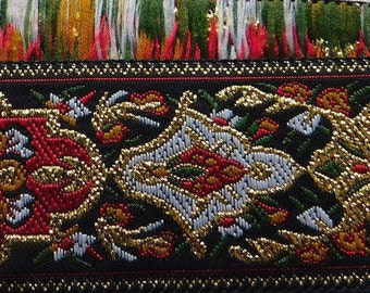 "Metallic Jacquard Ribbon Trim | 1-1/16"" Inch Woven Jacquard Ribbon | Renaissance Fair Costume Trim~Gold~Red-Green"