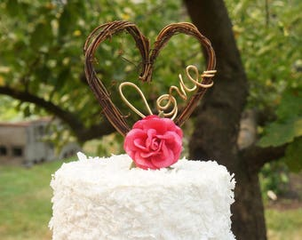 Rustic Wedding Cake Topper With Hot Pink Roses