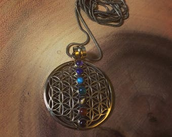 Brass 'Seed of Life' Chakra necklace