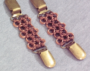 Japanese Weave Copper Chainmail Skirt Lifters (1 pair), Garters, or Jacket Cinch: Steampunk or Renaissance Faire Costume