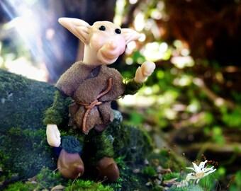 Polymer Clay Troll, Poseable Goblin Doll