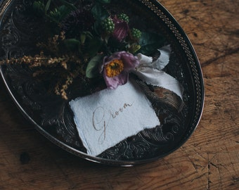 100% cotton rag place card featuring modern calligraphy