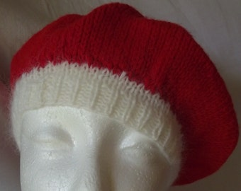Beret Hand Knit Red with White Trim Child Toddler Hat