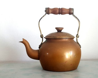 Vintage Copper Kettle, Made in Portugal, Repurposed Watering Can  for Plants, Copper Teapot, Farmhouse Decor