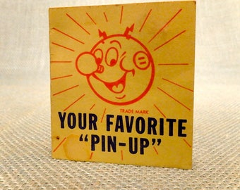 Reddy Kilowatt Pin with Advertising Card - The Mighty Atom - Sparky - Electric Company Symbol - Utility Mascot