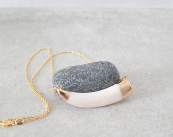 White Tusk Necklace, Bone Necklace, Layering Necklace, Boho Necklace, Gold eEcklace
