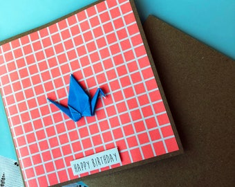 Happy Birthday Card - Blue Origami Crane, Geometric, Girl, Bright, Coral, Grid