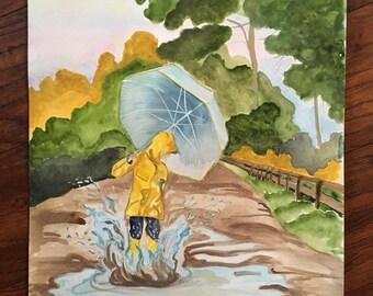 Dancing in the Rain - Original Watercolor
