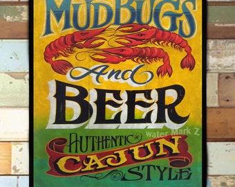 Cajun wall art etsy mudbugs beer cajun print from an original hand painted and lettered sign cajun art m4hsunfo