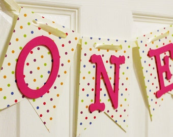 Polka Dot and Pink High Chair Banner, Happy Birthday Banner, I Am One Banner, I Am Two Banner