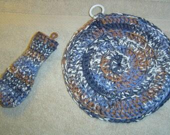0073 Crochet Pattern Cast Iron Pot Holder 2PC Set