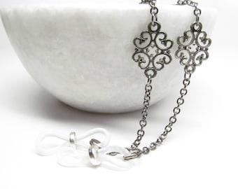 Eyeglass Chain for women in silvery black; Eyeglasses Leash; Glasses Cord; Reading Glasses Holder Necklace; Glasses Lanyard; kalxdesigns