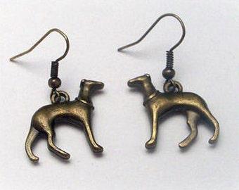 GreyhoundCleyhounds' Greyhound Whippet Galgo Sight Hound Bronze Tone Earrings