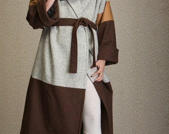 Long wool coat, oversized kimono coat, women's winter coat combining wool and leather, wrap coat, coat LENA sizes XS-XXL