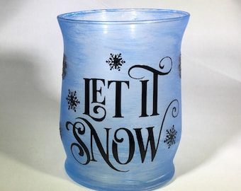 Let It Snow Blue Frosted Glass Candle Holder