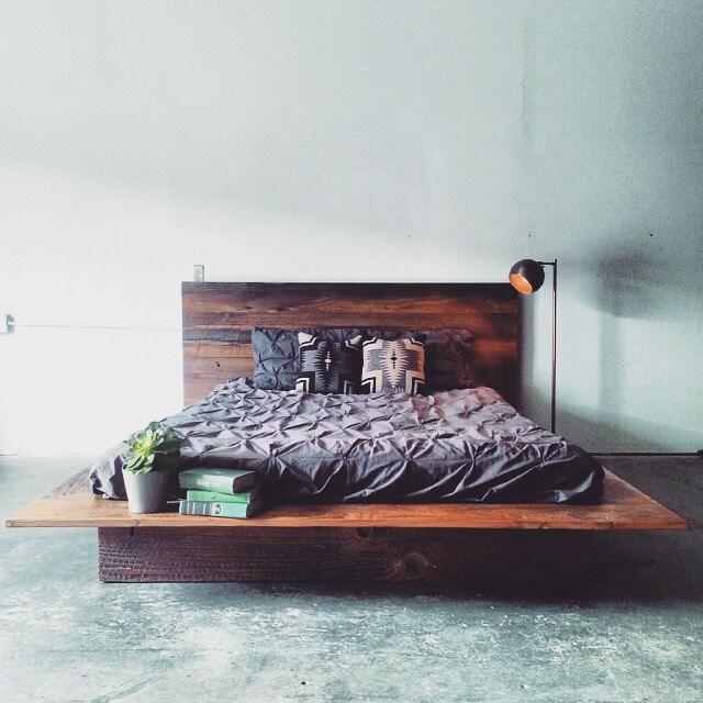 Reclaimed Wood Platform Bed Barn Frame Modern Lodge