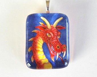 Red Gold Dragon Fantasy Art Glass Pendant Dragon Jewelry Colored Pencil Art