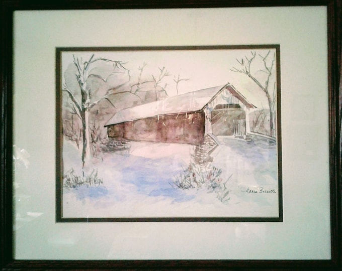 Through The Snowy Covered Bridge, Original Watercolor Painting, Free Shipping