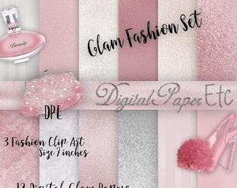 Sale Digital Glam Fashion Set, Digital Glam Paper, Digital Glam Clipart, Fashion Illustration, Digital PNG Elements,