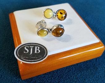 Amber Earrings, Vintage Honey Amber & Butterscotch Amber Drop Earrings, Sterling Silver Vintage Amber Jewelry, Amber Stud Earrings, #SD349